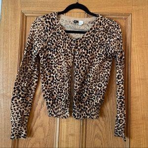 Leopard Print Button Down Cardigan Sweater
